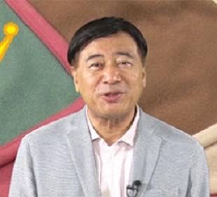 温感ポカポカ毛布を宣伝する夢グループの石田社長